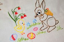 EASTER BUNNY DELIVERS GIFT TO CHICK! VTG GERMAN HAND EMBROIDERED TABLECLOTH