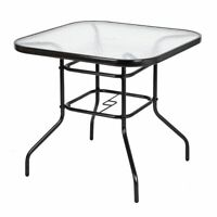 Glass Top Patio Dining Table Square Backyard Bistro Table Outdoor Garden Table