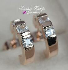 18CT Rose Gold Plated Sparkling Half Hoop Earrings Made With Swarovski Crystal