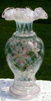 Fenton  Trellis Optic French Opalescent Pink Flower Ruffled Edge  Vase
