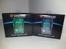 2  Original Official OEM Sega Dreamcast Memory Card  VMU  1 BLUE & 1 GREEN CIB