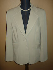 CAbi Style 832 Sand Colored One Button Lined Career Stitch Blazer Jacket Size 14