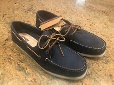 NEW RUGGED SHARK  NAVY BLUE Leather Boat Deck Shoes Men's Size 12