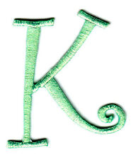 """SCRIPT LETTERS  - Lime Green Script Letter """"K"""" - Iron On Embroidered Applique"""