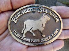 Vtg ELIZABETH STAMPEDE RODEO Belt Buckle 1992 Casey Colorado BULL Brass RARE VG+