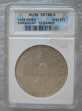 PARAGUAY 1 Peso 1889 Silver Crown ANACS AU50 Lion