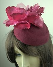 dark red satin flower fascinator pill box hat hair clip headpiece wedding party