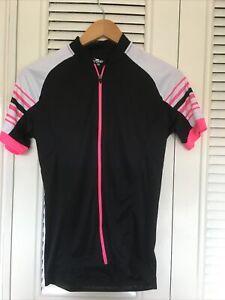 "Ladies MEDIUM 12 Cycling Top CRANE Bust 36 "" pink Black Zipped"