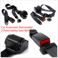 Car Auto Racing Black Automatic Retractable 3 Point Safety Seat Belt Lap Set Kit