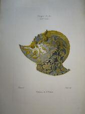 WILLEMIN (1763-1833) GRANDE GRAVURE COULEUR CASQUE MILITAIRE XVI° ORNEMENT 1820
