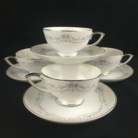 Set of 4 VTG Cups and Saucers Mikasa Chadsworth Blue Floral Jyota 8273 Japan