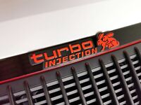 Auto 3D Relief Schild TURBO INJECTION Emblem 20 cm RICHTER Art. 4705 selbstkl.