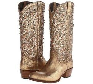 NEW $698 9.5 FRYE 77860 DEBORAH STUDDED TALL GOLD METALLIC WESTERN COWBOY BOOTS