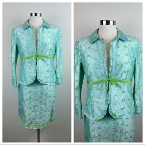 Nanette Lepore Silk Blue Green Floral Blazer Skirt Suit Set New With Tags Women