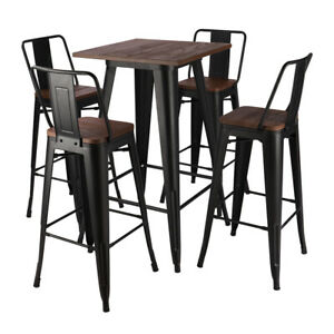 Tall Industrial Black/Wood Top Bar Stool Table Indoor Outdoor Cafe Bistro Chairs