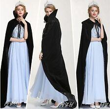 """Unique 71"""" Cloak Cape Velvet Satin Poncho Coat Beauty Contest Bridal Costume New"""