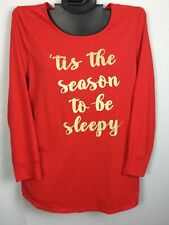 Cacique 14/16 Cotton Blend Sleep Top RED Soft Night Shirt Lane Bryant Holiday