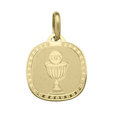 14k Yellow Gold Rounded Square Communion Pendant, 1.6 cm (New, 1.8g) #1600b