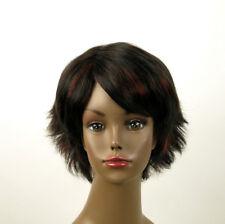 perruque femme afro 100% cheveux naturel méchée noir/rouge SHARONA 05/1b410