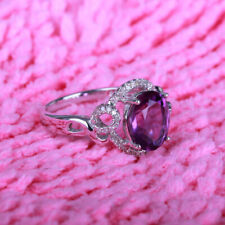 Solid 14K White Gold Oval Amethyst Gemstone Jewelry Wedding Ring Prong Setting