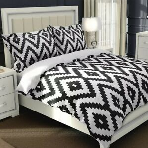 NTBAY FULL/QUEEN Aztec Duvet Cover Soft 3 Piece Set Black And White