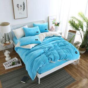Milk Flannel Fleece Bedding Set Baby Cashmere Duvet Cover Set Flat Sheet AB Side