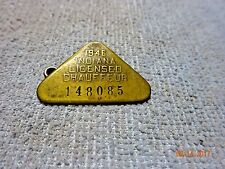 Licensed Indiana 1946 Driver License Chauffeur Badge # 148085 Vintage