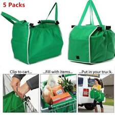 5 Pk Grocery Foldable Reusable Shopping Grab Bags Eco Trolley Tote Clip To Cart