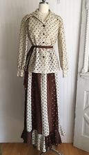 VTG 1970's CREAM LACE & Calico BOHO PRARIE Maxi Ruffle SKIRT & TOP By FRED LIEF