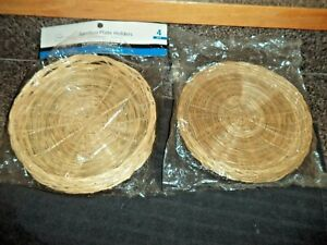New! Bamboo / Wicker Paper Plate Holders 2 packs of 4 each, 8 Total!