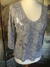 Ladies Top Size L Grey And Silver Floral Sequin Scrolls By M&CO  FREE P&P