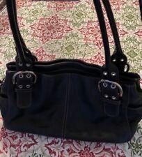 CLARKS Black Small Leather Shoulder Hobo Tote Satchel Slouch Purse Bag