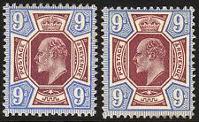 SG 306a 9d  Deep/Dull Reddish Purple & Deep/Blue M41 (2-3) pair  Mounted Mint.
