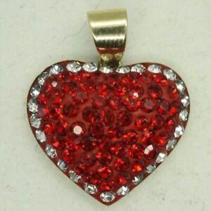 100% Genuine 9k Solid Yellow Gold Swarovski Love Heart Pendant