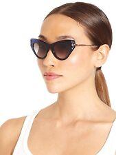 MIU MIU Navy Acetate Gray Gradient Crystal Embellished Cat Eye Sunglasses