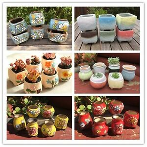6x Small Ceramic Pottery Set Pots Handmade Flower Plant Succulent Cactus Planter