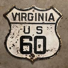 Virginia US 60 route shield highway marker road sign 1930s embossed