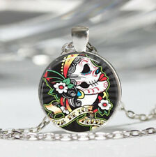 Skull Tibet silver Dome Glass Cabochon Necklace chain Pendant #182