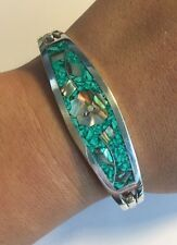 Women Taxco Floral Abalone Inlay Green Turquoise Sterling Silver Clip Bracelet
