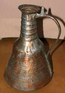Antique Large Copper Hand Hammered  Pitcher with Ornate Brass Handle