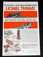 1953 OLD MAGAZINE PRINT AD, LIONEL TRAINS, WITH MAGNE-TRACTION HAVE MORE SPEED!