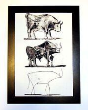 Pablo Picasso The Bull framed, GICLEE 8.3X12 print on canvas art reproduction
