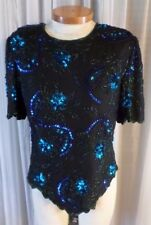 Vintage Black XL Woman Silk Blue Green Sequin Beads Lady Top Blouse 14 16 Kazar
