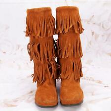 Minnetonka Women's Fashion Moccasin Boots Shoes Size 7M Suede Fringe Acorn Brown