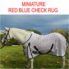 Unicorn Red Blue Check Miniature White Small Pony Ripstop Horse Rug 4'6,4'9,5'9