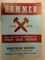 1972/73 WEST HAM UNITED v SHEFFIELD UNITED - 14th October