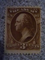 MNG 3 Cent Brown 1873 #O74 USA Official-US Treasury STAMP