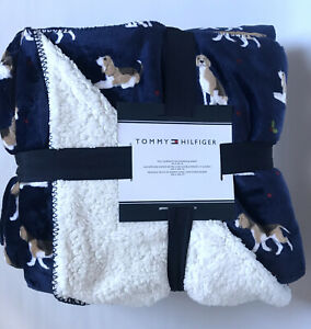 """Tommy Hilfiger FULL QUEEN 90x90"""" Navy Blue Beagle Plush Sherpa Blanket Christmas"""