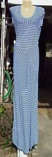 NWT BEBE Blue & White Mixed Mini Stripe Maxi Dress M NEW