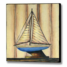 picture model sail boat, blue boat distressed shabby chic 1 of 2 matching set
